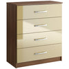 Walnut & High Gloss Finish Chest of 4 Drawers
