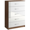 Walnut & High Gloss Finish Chest of 5 Drawers