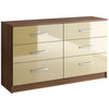 Walnut & High Gloss Finish Chest of 6 Drawers