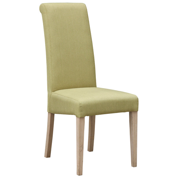 2x Olive Green Fabric Dining Chairs