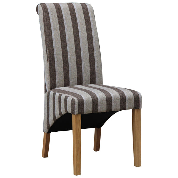 2x Brown & Grey Striped Fabric Dining Chairs