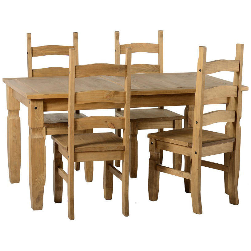 Light Waxed Finish Solid Pine Dining Set