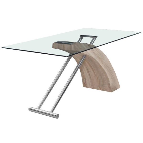 Clear Glass & Oak Effect Dining Table