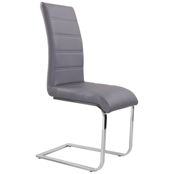 2x Grey PU leather Dining Chairs