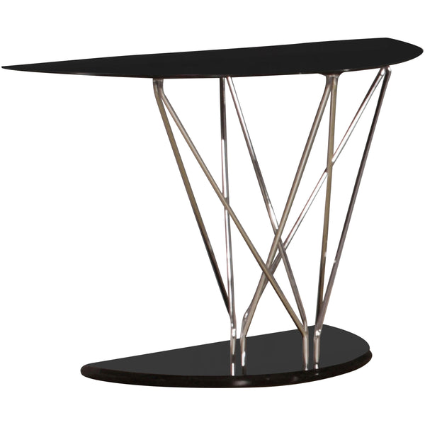 Black Glass & Chrome Console Table