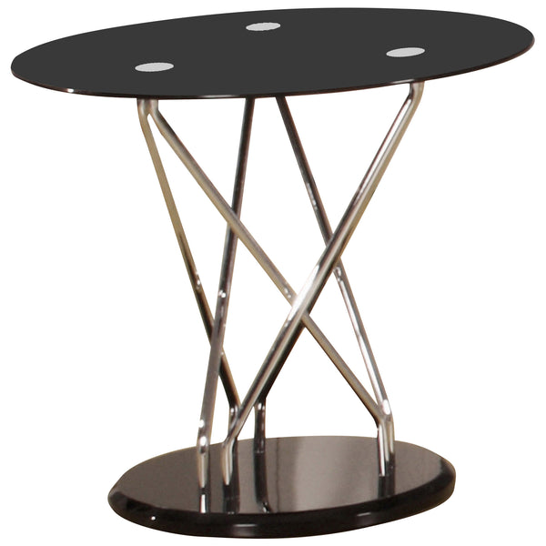 Black Glass & Chrome Side Table