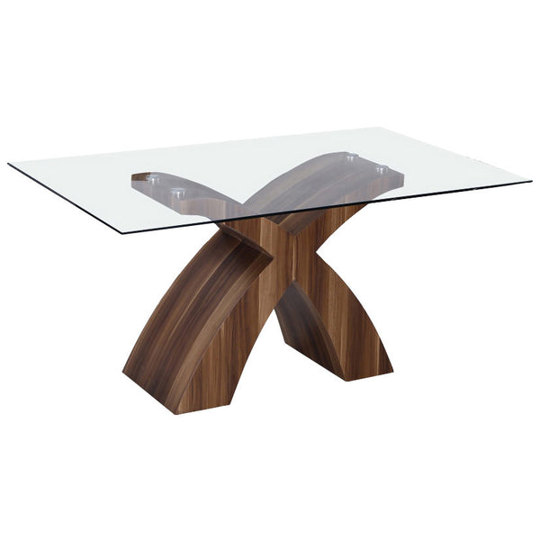 Walnut & Clear Glass Dining Table