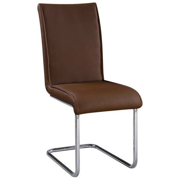 2x Brown PU Leather Dining Chairs