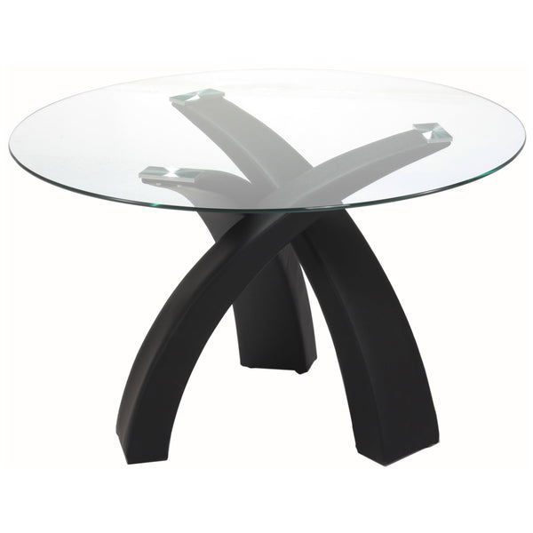 Black Finish & Clear Glass Dining Table