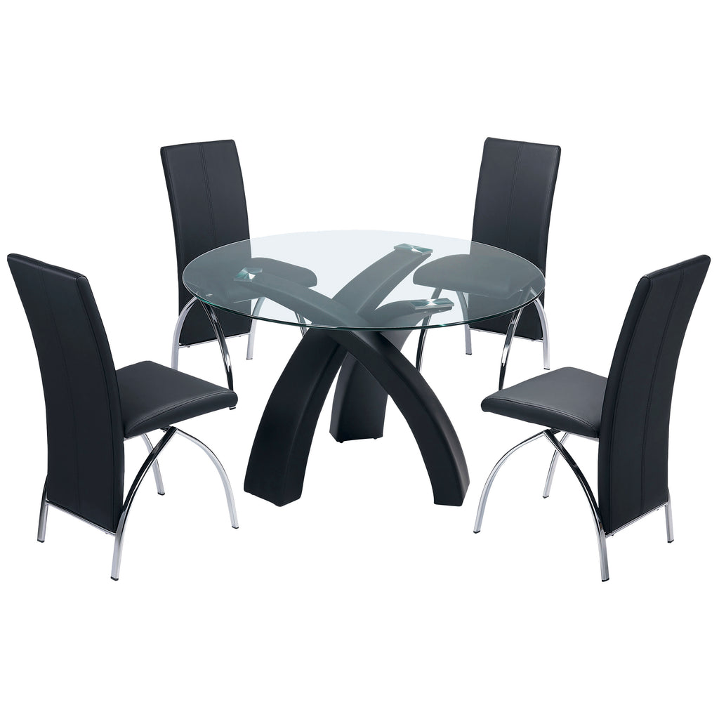 Black Finish & Clear Glass Dining Set
