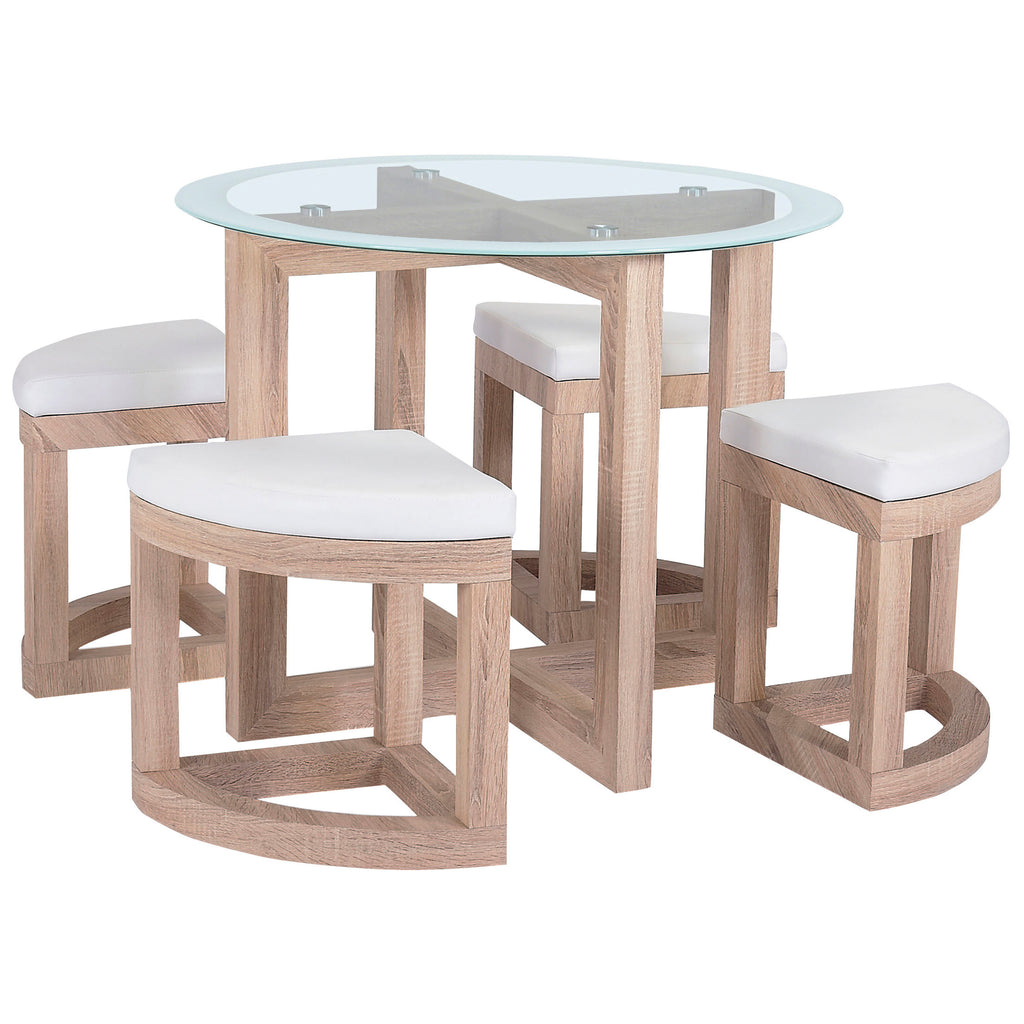 Beech Effect Finish & Clear Glass Dining Set