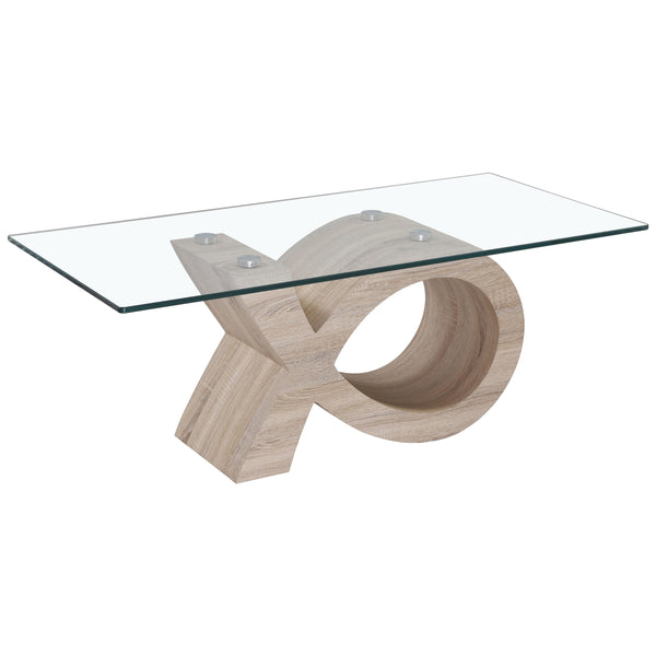 Wood Finish & Clear Glass Coffee Table