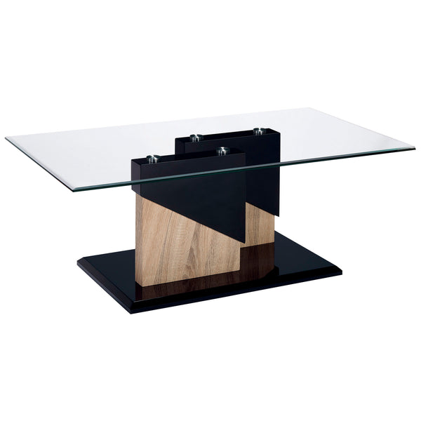 High Gloss Black & Clear Glass Coffee Table