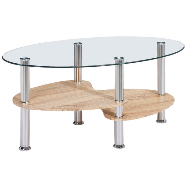 Natural Wood & Glass Coffee Table