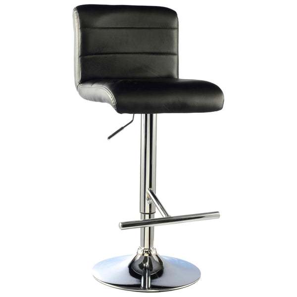 2x Black Leather Bar Stool