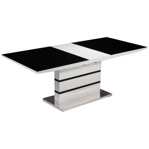 Black Glass & High Gloss White Finish Extending Dining Table
