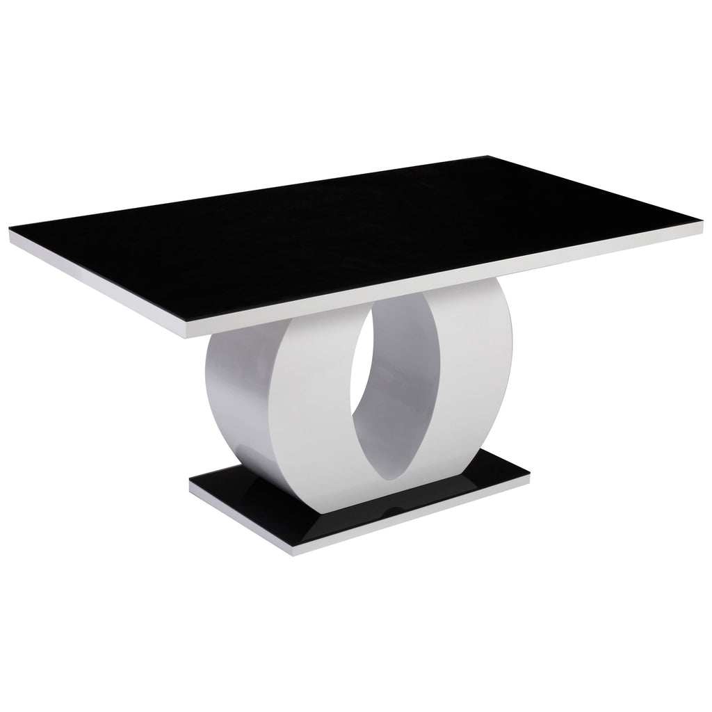 High Gloss White & Black Glass Dining Table