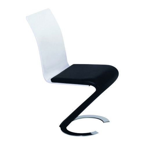 4x Black & White PU Leather Dining Chairs