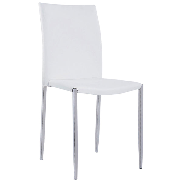 4x White PU Leather Dining Chairs