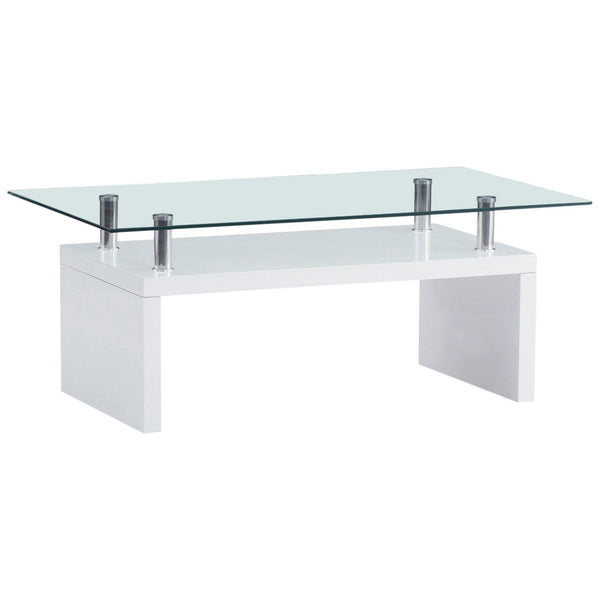 High Gloss White & Clear Glass Coffee Table