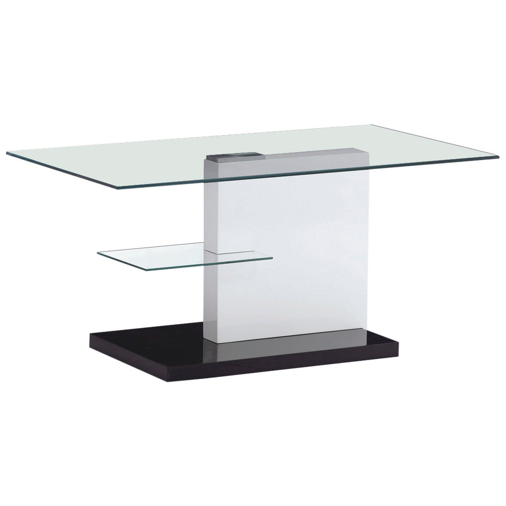 High Gloss Finish & Clear Glass Coffee Table