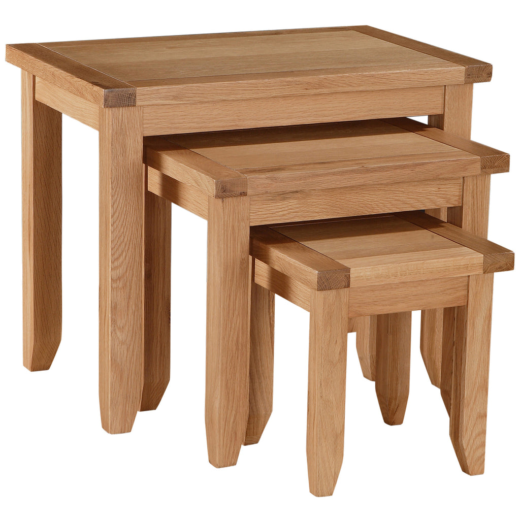Solid Oak & Veneer Nest of 3 Tables