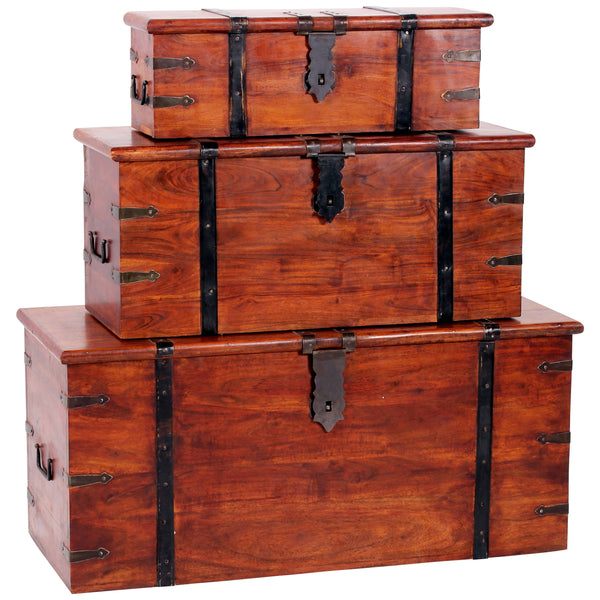 Rustic Finish Solid Acacia Trunk Set