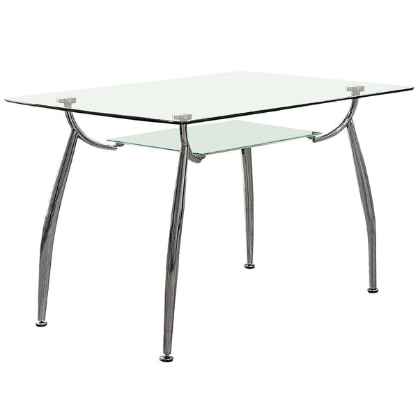 Chrome & Clear Glass Dining Table