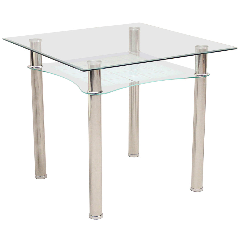 Metal & Clear Glass Dining Table