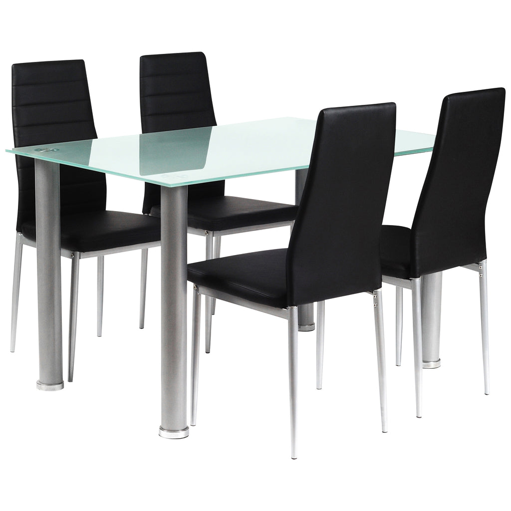 Frosted Glass & Silver Dining Set