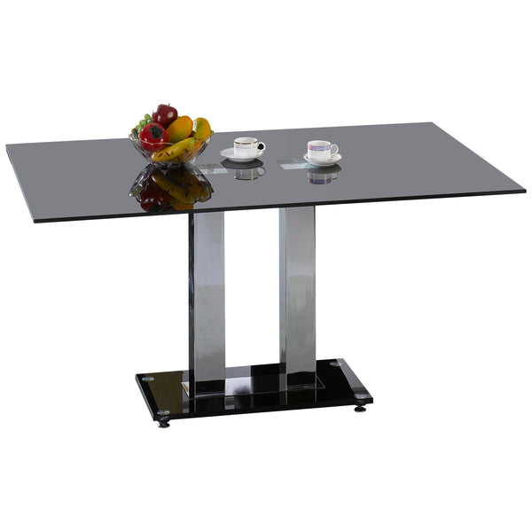 Chrome & Black Glass Dining Table