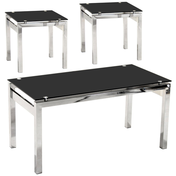 Chrome & Black Glass Coffee & Side Table Set