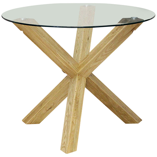 Solid Oak & Clear Glass Dining Table