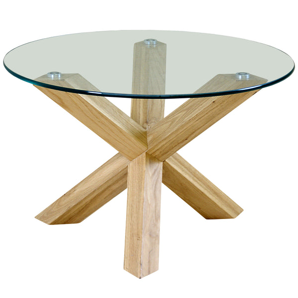 Solid Oak & Clear Glass Coffee Table