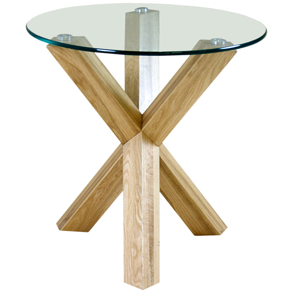 Solid Oak & Clear Glass Side Table
