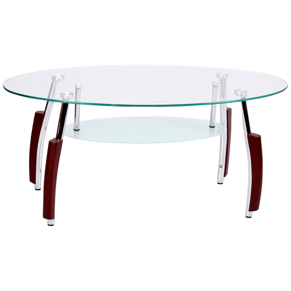 Mahogany & Clear Glass Coffee Table
