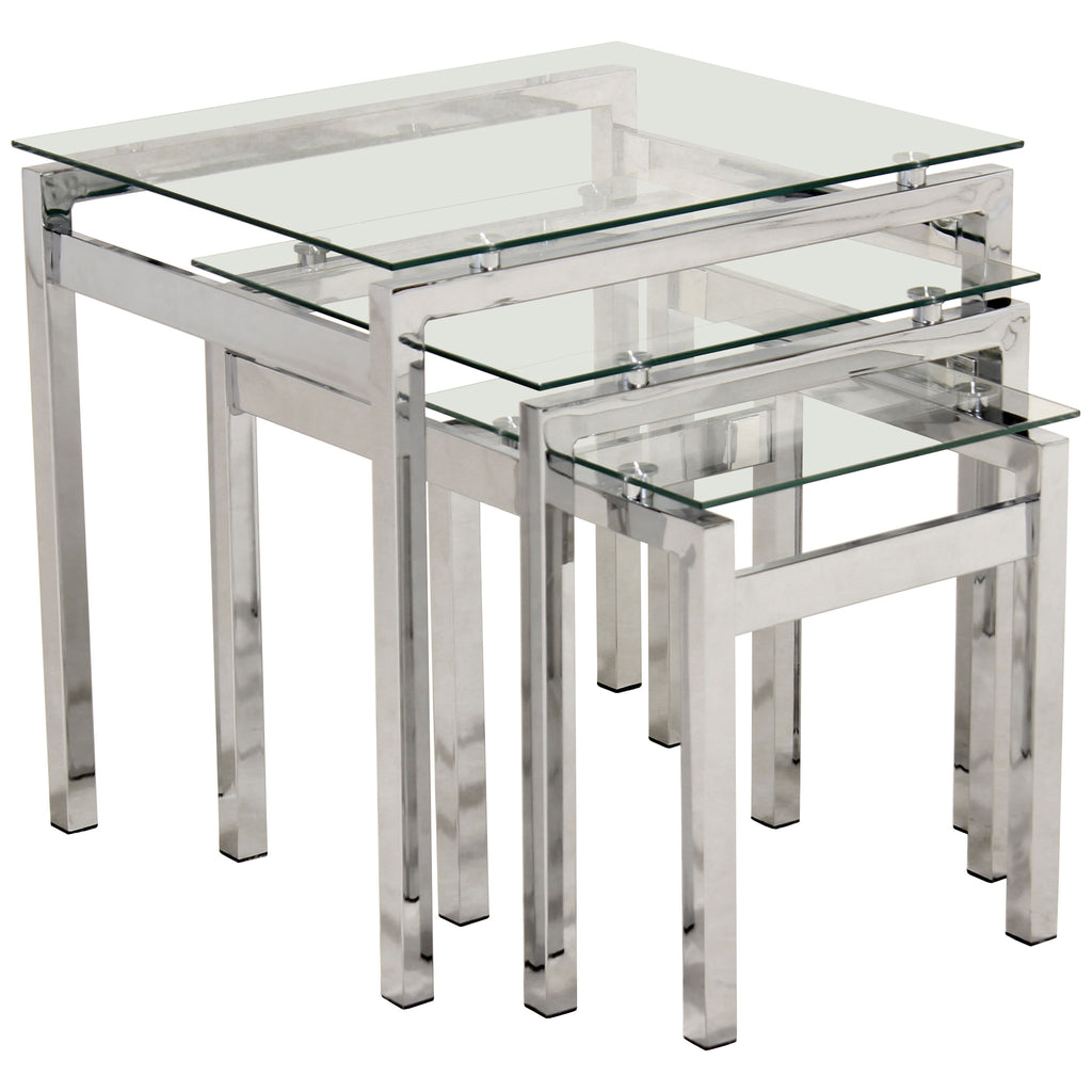 Chrome & Clear Glass Nest of 3 Tables