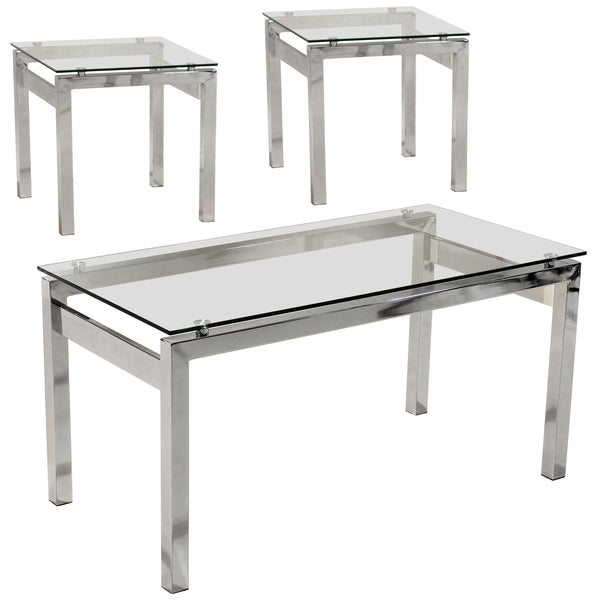 Chrome & Clear Glass Coffee & Side Table Set
