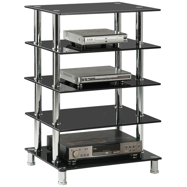 Chrome & Black Glass Media Unit