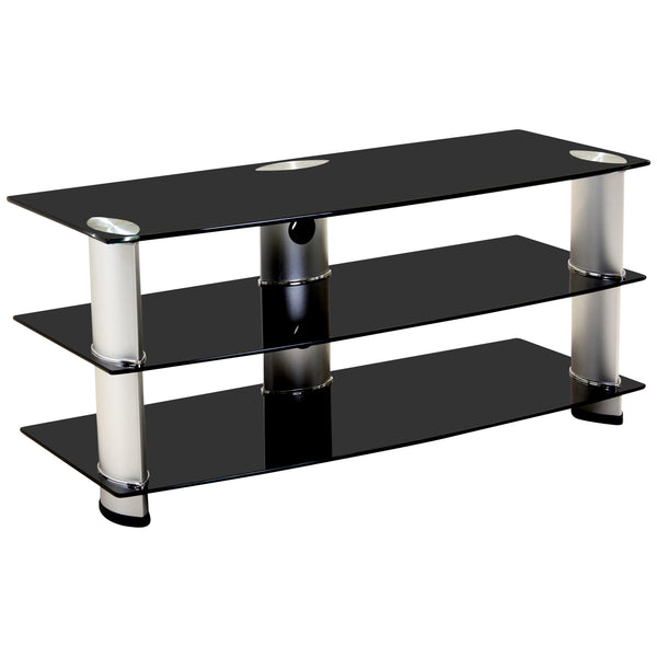 Aluminium Metal & Black Glass TV Unit