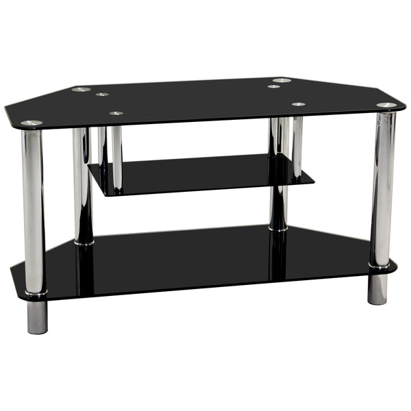 Chrome & Black Glass TV Unit