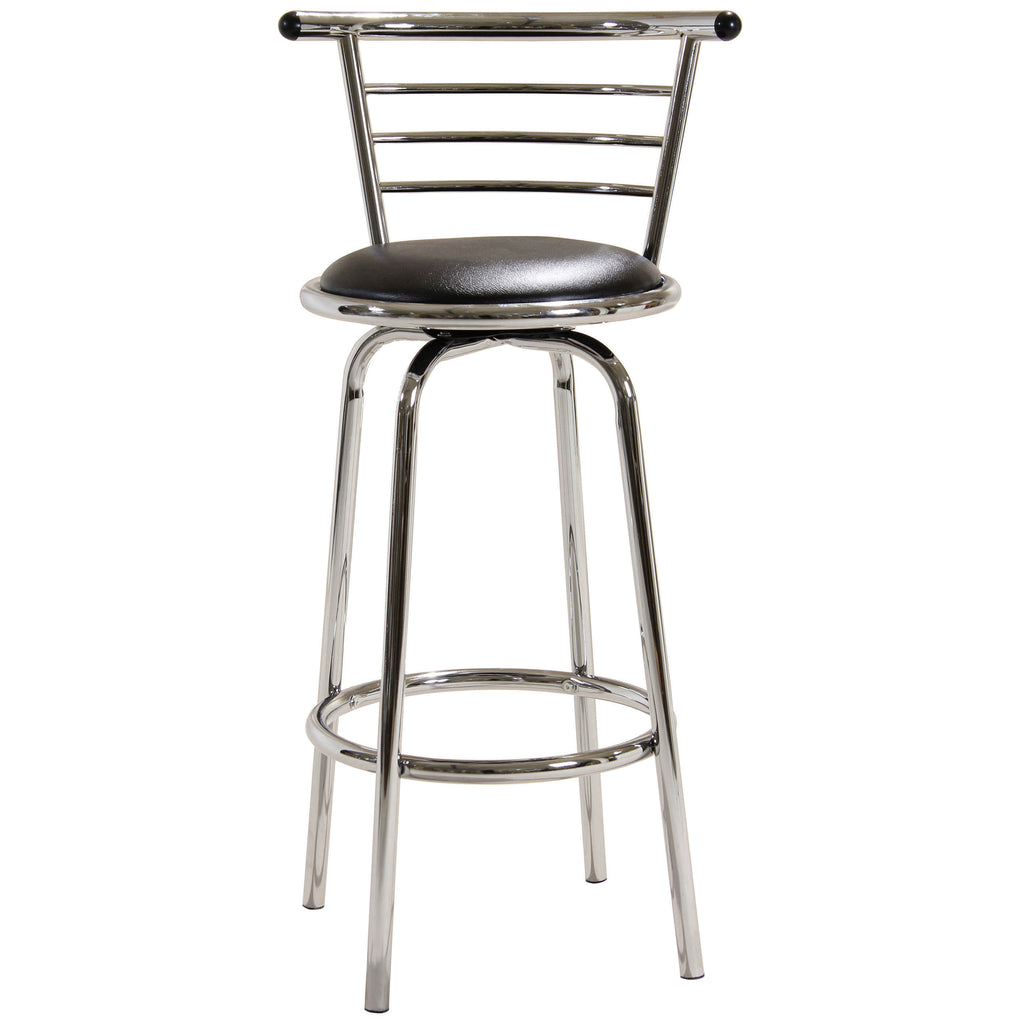2x Wide Back Chrome & Black Bar Stools