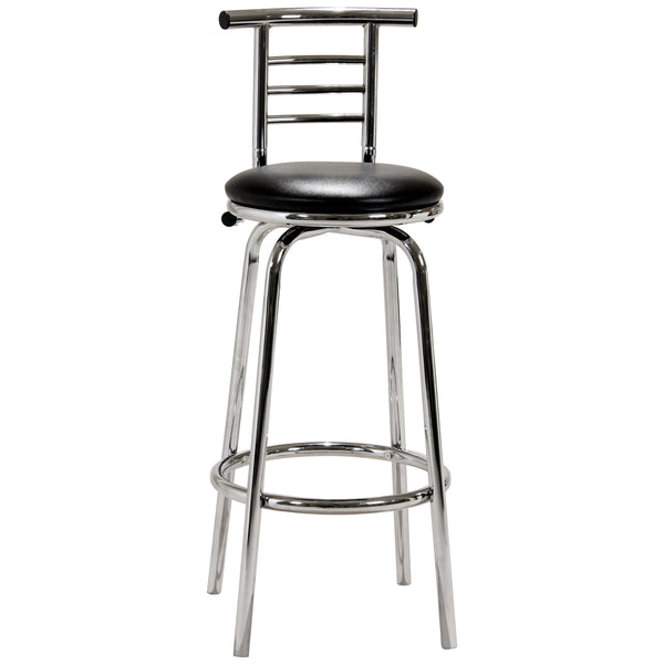 2x Narrow Back Chrome & Black Bar Stools