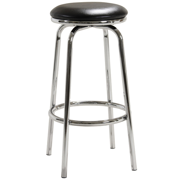 2x Black & Chrome Bar Stools