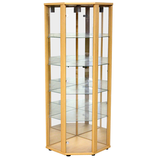 Clear Glass & Light Beech Finish Display Unit