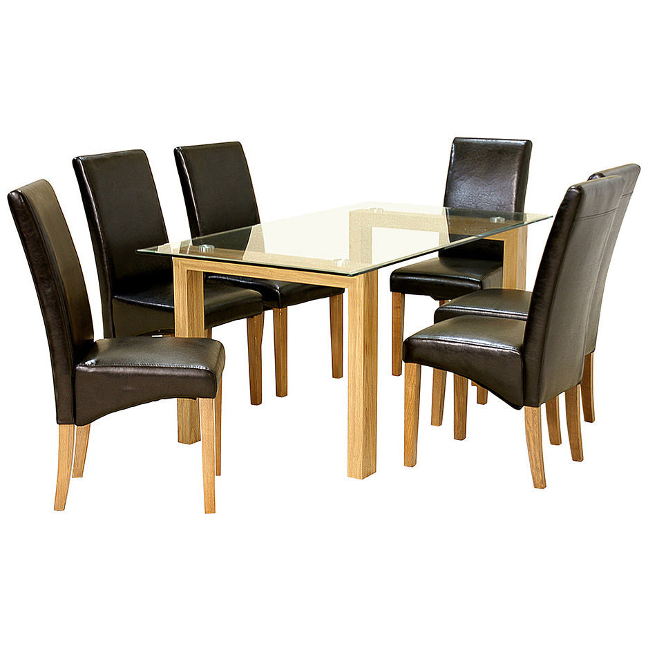 Oak Finish & Clear Glass Dining Set