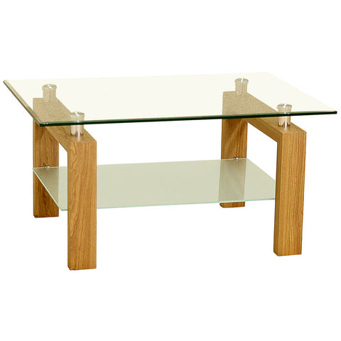 Oak Finish & Glass Coffee Table