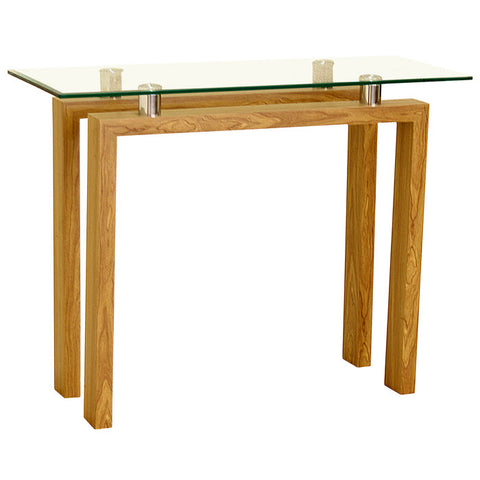 Oak Finish & Glass Console Table