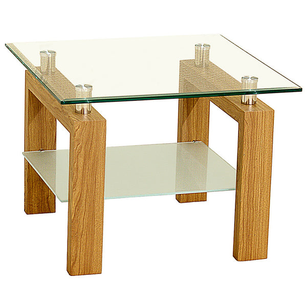 Oak Finish & Glass Side Table