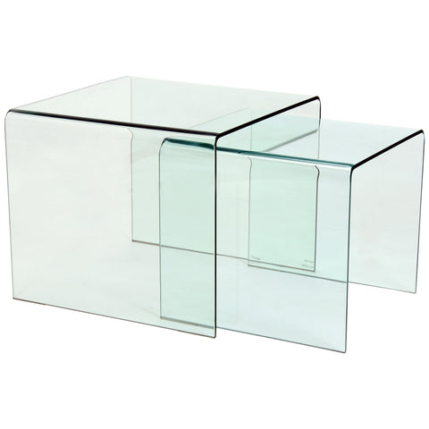 Tempered Bent Glass Nest of 2 Tables